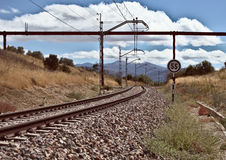 Zonsondergang in de trein Stock Fotografie