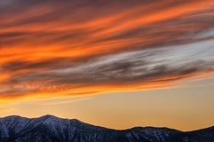 Zonsondergang, de Vallei van de Dood stock afbeelding