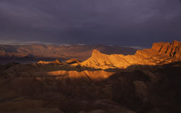 Zonsondergang in de Vallei van de Dood Stock Fotografie
