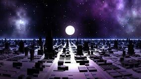 Zonsondergang in de Vreemde Stad vector illustratie