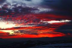 Zonsondergang in de winter Stock Fotografie