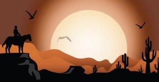 Zonsondergang in de woestijn stock illustratie