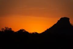 Zonsondergang dichtbij Kruger-Park in Zuid-Afrika Royalty-vrije Stock Afbeelding
