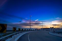 Zonsondergang dichtbij Kuala Lumpur International Airport 2 Stock Foto