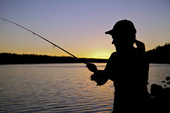 Zonsondergang die dicht omhoog vist Stock Foto's