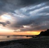 Zonsondergang in donkere kleuren, zoals met de dekking van de roman royalty-vrije stock afbeeldingen