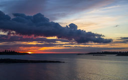 Zonsondergang door het overzees Stock Fotografie