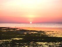 Zonsondergang door het strand Royalty-vrije Stock Foto