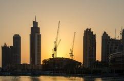 Zonsondergang in Doubai Stock Afbeeldingen