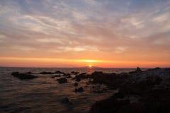 Zonsondergang in Dudici, eiland Pag, Kroatië Stock Foto's