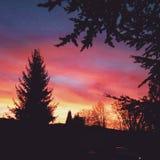 Zonsondergang in Duitsland Stock Fotografie