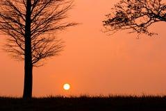 Zonsondergang in een vreedzame avond Stock Foto