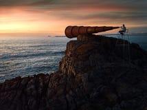 Zonsondergang in een vreemd vooruitzicht stock fotografie