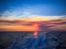 Zonsondergang in Egeïsche overzees Stock Foto