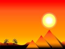 Zonsondergang in Egypte stock illustratie
