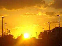 Zonsondergang in Egypte, het noordenkust royalty-vrije stock fotografie