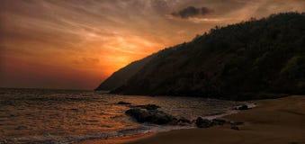 Zonsondergang, eiland, strand, kakolem, Goa, stock fotografie