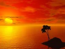 Zonsondergang en een eiland Royalty-vrije Stock Afbeeldingen