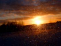 Zonsondergang en glas Royalty-vrije Stock Afbeeldingen