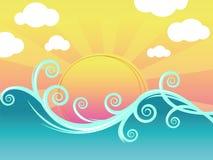 Zonsondergang en golven Royalty-vrije Stock Foto's