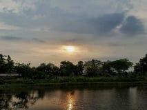 Zonsondergang en hemel Royalty-vrije Stock Afbeelding