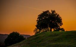 zonsondergang en heuvels stock afbeeldingen