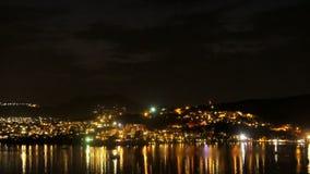 Zonsondergang en nacht in Mediterrenean, luchttimelapse stock videobeelden