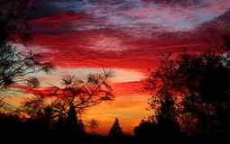 Zonsondergang en Rode Hemel Royalty-vrije Stock Afbeelding
