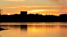 Zonsondergang en Silhouetten Royalty-vrije Stock Afbeelding