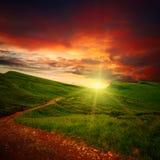Zonsondergang en weg door een weide Stock Foto