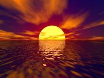 Zonsondergang en zonnestraal Stock Fotografie
