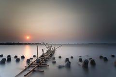 Zonsondergang en zonsopgang Stock Afbeeldingen
