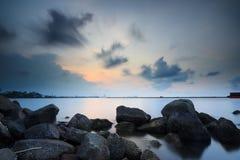 Zonsondergang en zonsopgang Stock Afbeelding