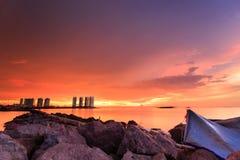 Zonsondergang en zonsopgang Royalty-vrije Stock Foto