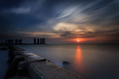 Zonsondergang en zonsopgang Royalty-vrije Stock Afbeelding
