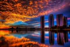 Zonsondergang en zonsopgangmening Stock Foto