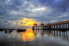 Zonsondergang en zonsopgangmening Stock Fotografie