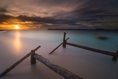Zonsondergang en zonsopgangogenblik Royalty-vrije Stock Fotografie