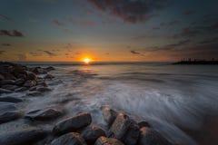 Zonsondergang en zonsopgangogenblik Royalty-vrije Stock Foto