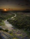 Zonsondergang in Engels platteland Stock Fotografie