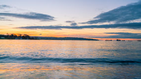 Zonsondergang Engelse baai Stock Foto's