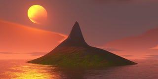 Zonsondergang erachter achter een klein eiland in de oceaan Stock Foto's