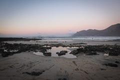 Zonsondergang in Famara Royalty-vrije Stock Afbeelding
