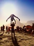 Zonsondergang Flip Silhouettes Rio de Janeiro Brazil Royalty-vrije Stock Foto