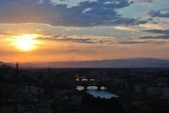 Zonsondergang in Florence Stock Afbeeldingen