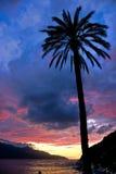 Zonsondergang in Forno, op de Biodola Baai, het eiland van Elba. Stock Foto's
