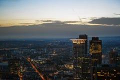 Zonsondergang in Frankfurt Stock Afbeeldingen
