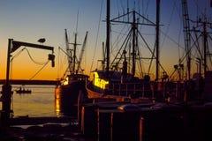 Zonsondergang in Galilee, Narragansett, RI. stock afbeeldingen