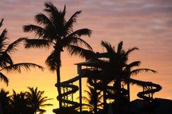 Zonsondergang gouden uur met palmen en aquatisch park royalty-vrije stock fotografie
