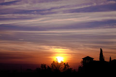 Zonsondergang in Granada Stock Afbeelding